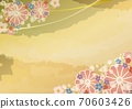日式花卉圖案和金色背景框架A4水平 70603426