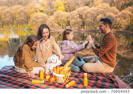 Happy family on a picnic in the park at autumn 70604093