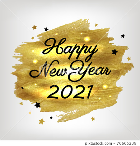 New Year Winter Poster With Golden Paint 70605239