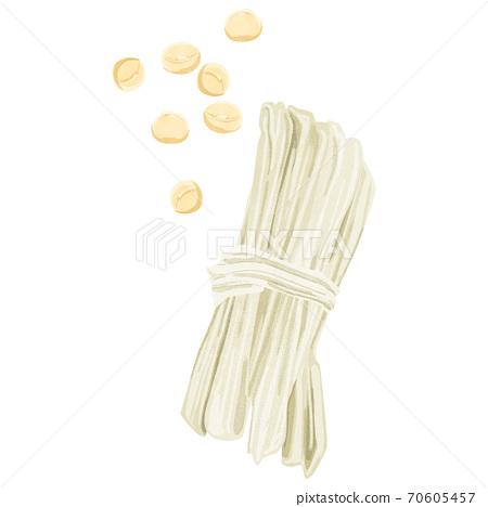 Kanpyo和大豆的水彩風格插圖 70605457