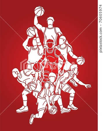 Group of Basketball players action cartoon sport graphic vector. 70605974