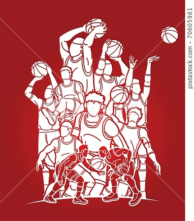 Group of Basketball players action cartoon sport graphic vector. 70605981