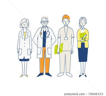 在醫院工作的人的插圖 70606353