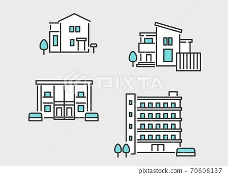 房地產(如房屋和公寓)的圖像插圖材料 70608137