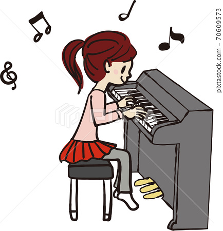 Illustration of a girl playing the piano 70609573