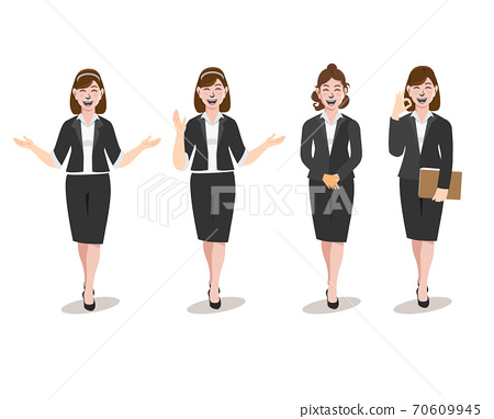 Business woman with sign Marketing, advertising, promotion vector illustration of Advertising Promotion. 70609945