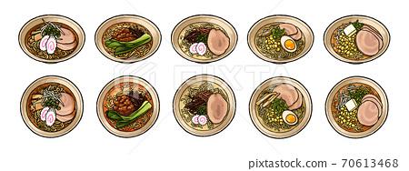 [手繪食物插圖]各種拉麵的插圖集 70613468