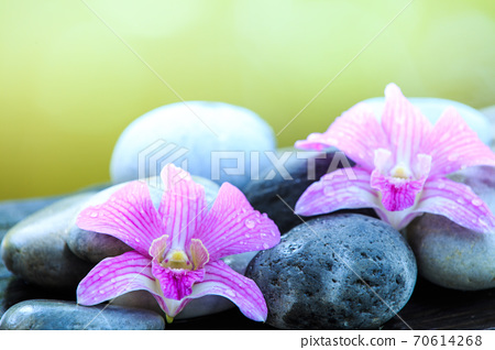 zen stone and pink orchid on the wooden table with copy space for text or product 70614268