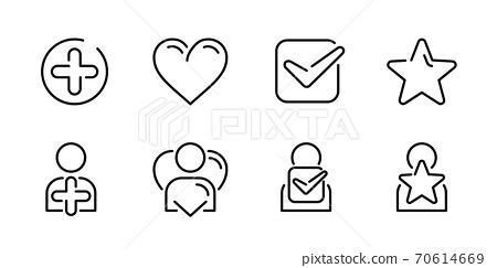 Plus, heart, check, star vector outline icons 70614669