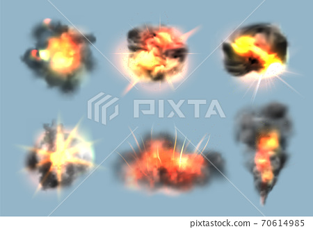 Dynamite exploded effects. Realistic bomb explosion with fire and smoke clouds vector collection 70614985