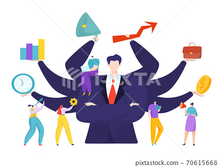 Virtual business assistant for people achievement concept, vector illustration. Advance analytics and balance. Man with many hands 70615668