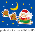 Illustration of Santa Claus and reindeer riding a sleigh 70615685