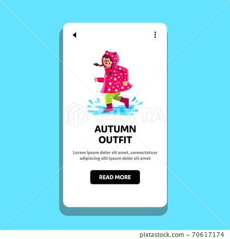 Autumn Outfit Wearing Little Girl Walk Vector 70617174