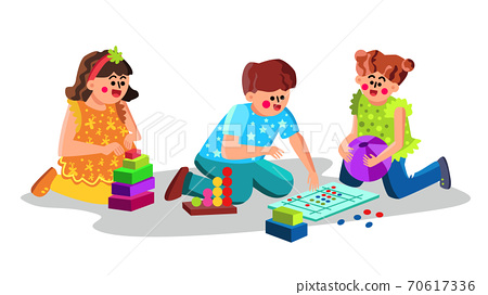 Child Care Center Children Playing Toys Vector 70617336