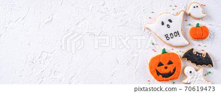 萬聖節 餅乾 糖霜 糖霜餅乾 白色背景 Decoratied cookies ハロウィン クッキー 70619473