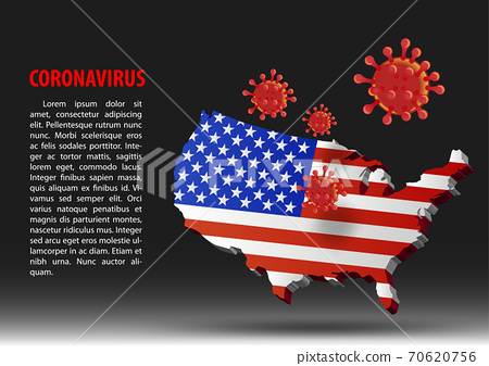 coronavirus fly over map of USA within national flag,vector illustration 70620756
