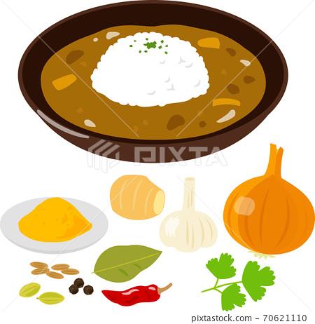 咖哩飯和配料香料和蔬菜 70621110