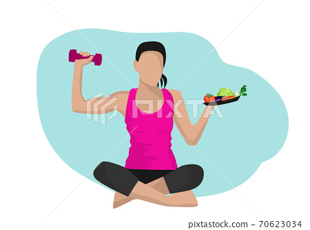 The girl in the right hand holds a weight lifting And left hand holding a plate of fruits and vegetables The concept of balancing the body for good health 70623034