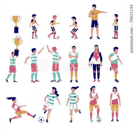 Soccer player set, flat vector isolated illustration. Kids, adults playing football, kicking the ball, holding gold cup. 70625144
