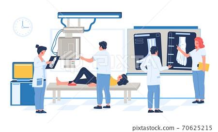 Medical xray test of leg bone fracture, injury in hospital room, flat vector illustration. 70625215