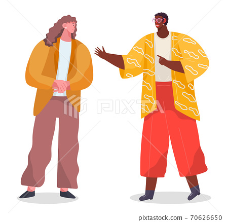 Conversation of two stylish people, black african man wearing glasses talking with caucasian woman 70626650