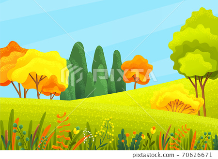 Autumn forest beautiful landscape with orange, yellow, green trees, bushes, grass, autumn forest or wood, view 70626671
