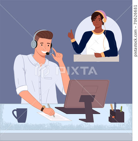Black satisfied guy show thumb up for good work, solved problem talking with operator of call center 70626681