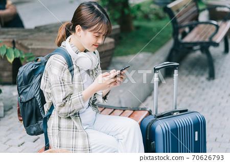 Woman, travel, backpacker 70626793