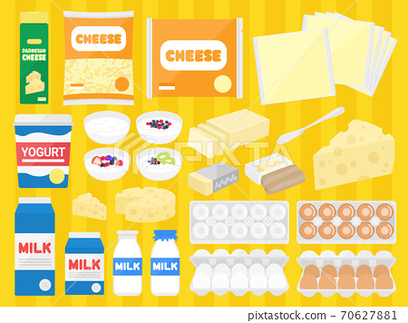 Illustration set of dairy products 70627881