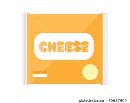 切成薄片的奶酪在袋子裡的插圖 70627900