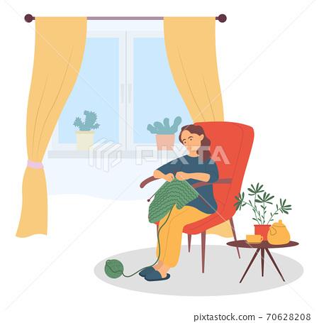 Beautiful woman sitting in the armchair and knitting vector Illustration. Famale knits a scarf 70628208