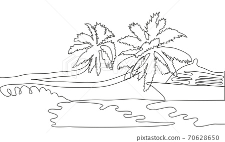 Single continuous one line art ocean travel vacation. Sea voyage holiday tropical island ship yacht luxury island palm tree journey concept 70628650