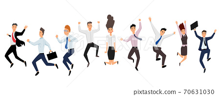 Jumping business people. Group of business people jumps on a white background. Vector illustration of a flat design. Set of office workers jumping. Cartoon business team 70631030