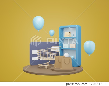 Shopping Online on website. mobile application online shopping. delivery and parcel box. 3D rendering 70631628