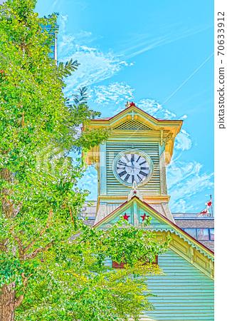 [動漫風格]北海道札幌市鐘樓的夏天(原札幌農業學校表演廳) 70633912