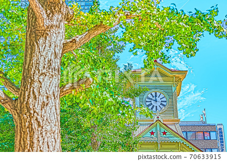 [Anime style] Summer in Hokkaido Sapporo City Clock Tower (former Sapporo Agricultural School Performance Hall) 70633915