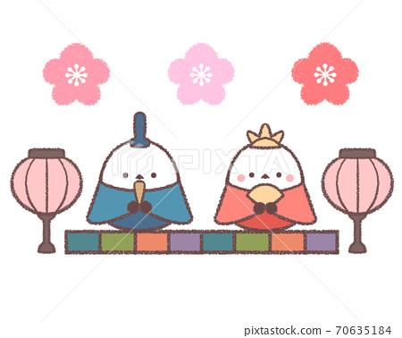 Hina doll Shimaenaga-with plum blossoms 70635184