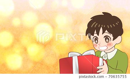 선물을 받고 기뻐하는 소년의 일러스트 반짝 가로 크기 70635755