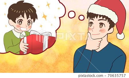 아이들 선물로 무엇을 선물할지 생각하는 산타 클로스 아빠의 일러스트 70635757