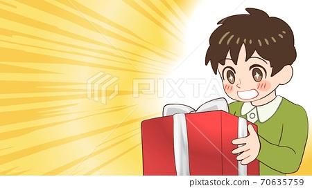 선물을 받고 기뻐하는 소년의 일러스트 가로 크기 70635759