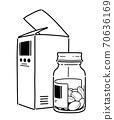 약 상자와 병 알약 70636169