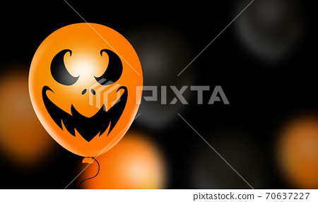 Halloween party banner  with  scary balloons isolated  on  black   background, space for text , sale banner template billboard, , poster, vector illustration  70637227