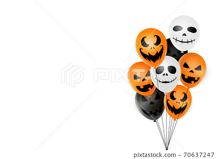 Halloween party  background with  scary black, white, orange air balloons isolated  on white background, space for adding text , sale banner template billboard, , poster, vector illustration  70637247