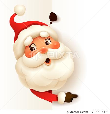 Santa Claus with big blank signboard. 70639312