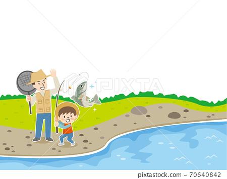 父母和孩子在河裡釣魚 70640842