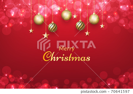 Red christmas background with gold ornaments and glowing bokeh effect. vector for design invitations, advertisements, banners, posters, greeting cards, social media posts and more 70641597