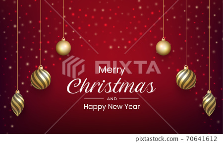 Merry Christmas and New Year design with gold ball ornament 70641612