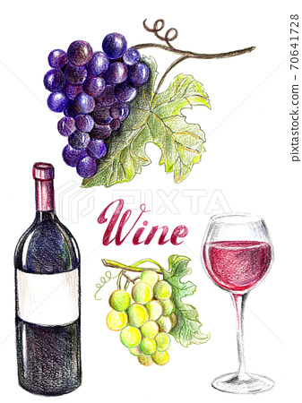 Hand drawn wine set, violet grapes, white grapes, red wine, glass. 70641728