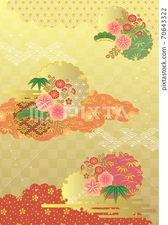 매화와 구름의 일본식 디자인 프레임 70643322