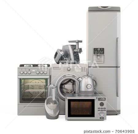 Silver kitchen appliances. Washing machine, fridge, gas range, microwave oven, meat grinder, mixer, kettle and hydrogen rich water machine. 3D rendering 70643908